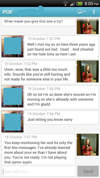 Tmi his ex with screenshot another single woman 39 s blog for Plenty of fish free